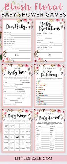 Printable baby shower games for girls by LittleSizzle. Blush pink games for a girl baby shower with watercolor flowers. Keep large groups of guests entertained AND create meaningful keepsakes for the new mom with this printable baby shower game package. The bundle includes popular and unique games like Baby Bingo, Emoji Pictionary, Baby Wishes, Baby Predictions and Name the baby animal. Simply download, print & play! #babyshowergames #DIY #printable #girlbabyshower #floral #pink…