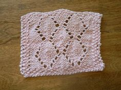 Hand Knit Pretty Pink Lovely Lace Leaves Mini Wash Cloth or Dish Cloth | hollyknittercreations - Knitting on ArtFire