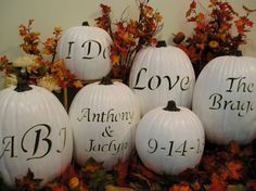 Mr. and Mrs. Fall Wedding Carved Pumpkin Set by purpleinkgraphics