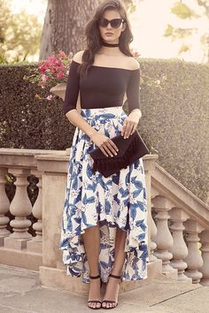 Floral Print Skirt - High-Low Skirt - Blue and Ivory Skirt - $99.00