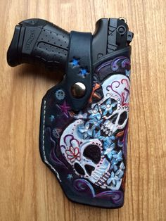 Custom Made Walther Ladies Leather Holster - not the skulls though Gun Holster, Leather Holster, Leather Tooling, Custom Holsters, Best Concealed Carry, Cool Guns, Awesome Guns, Guns And Ammo, Sugar Skull