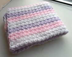 Crochet Baby Blanket Baby Pink Purple White baby shower gift
