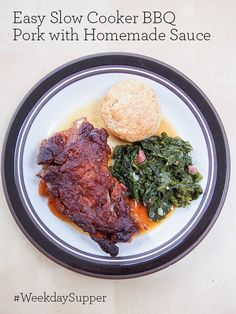 Easy Slow Cooker BBQ Pork with Homemade Sauce #WeekdaySupper
