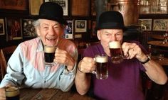On Broadway this Fall 2013! Sir Ian McKellen and Sir Patrick Stewart enjoy a couple of pints