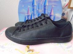 CONVERSE All STAR Black on Black Leather Low Tops Casual Mens Shoes Unisex sz 13 #Converse #FashionSneakers