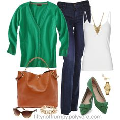 Fifty, not Frumpy: Classic Casual: I will have to trade green purse for brown and brown shoes for green...it'll work!