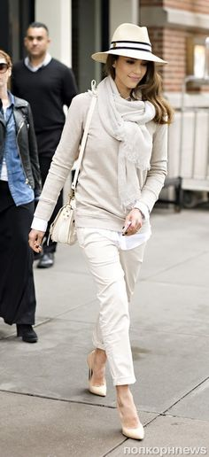 Elegant casual in shades of cream and soft grey.