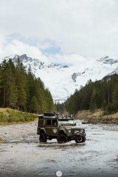land rover defender in a liechtenstein mountain stream #suv