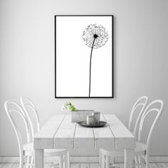 Dandelion Modern Abstract Wall Art Printable  by NordicPrintStudio