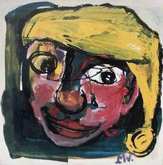 Martin van Wordragen - Olieverf op doek - Zot met slaapmuts - ingelijst - 50 x 50 cm