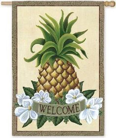Tropical Welcome Fresh Pineapple Garden Flag by Evergreen. Save 41 Off!. $8.85. Fits garden flag stand. Garden Flag size is approx. 12.5 inches wide x 18 inches long. High quality nylon. A sweet and simple symbol of a graceful welcome, this Pineapple Welcome flag is made with deep, hearty colors and contrasts to truly bring the welcome to life. Our Silk Reflections Flags are made with a heat sublimation process for a richer and deeper color and detail display in our flags. An amazing pr...