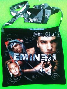Side bag,urban,hip hop,cross shoulder,fanart,alternative,upcycled,festival,edm,music,one of a kind,rappers,eminen,slim shady,shopping bags larissa myrie.art  one of a kind larissamyrie.art washable, strong, upcycled, fun, #fashion #style #art #barbie #shoppingbag #totebag #shoulderbag #slowfashion