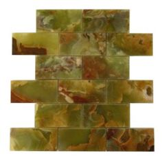 2+in.+x+4+in.+Green+Onyx+Brick+Pattern+Polished+Mosaic+Tile+-+2+in.+x+4+in.+Green+Polished+Finish+Mesh-Mounted+Onyx+Mosaic+Tileisa+great+way+to+enhance+your+decor.+This+Polished+Mosaic+Tile+is+constructed+from+durable,+impervious,+translucent,+Onyx+material,+comes+in+a+smooth,+high-sheen+finish+and+is+suitable+for+installation+as+bathroom+backsplash,+kitchen+backsplash+in+commercial+and+residential+spaces.+This+beautiful+onyx+tile+features+a+random+variation+in+tone+to+help+add+style