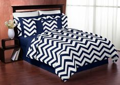 Sweet Jojo Designs Navy Blue and White Chevron 3 Piece Bedding Set & Reviews | Wayfair