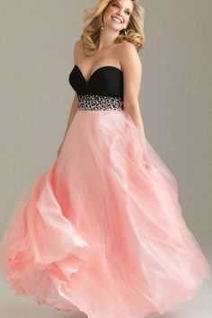 5a4e3352cc4 Sweetheart Empire Teo Toned Black And Pink Tulle A Line Princess Plus Size  Dress For Evening