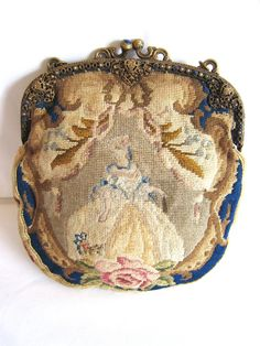 Art Deco Figural Petit Point Purse With Jeweled Frame Ca 1920