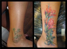 2017 trend Watercolor tattoo - Coverup gecko and watercolor flowers...