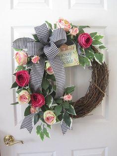 Home Sweet Home Welcome Wreath, Easter Wreath, Spring Wreath, Mothers Day, Front Door Wreath, Home Decor, Gift, Handmade Custom Wreath