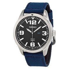 Seiko Solar Blue Dial Blue Nylon Mens Watch SNE329 | Comprar en iguama.com