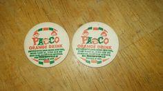 "Vintage ""Pacco Orange Drink"" Dairy Milk Bottle Milkcap Cap Collectible Lot of 2"