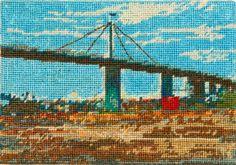 Westgate Bridge view from Spotswood #2 Needlepoint by Jessie Deane