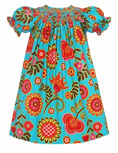 love the use of bold, modern fabric with a traditional style like the bishop; Anavini Girls Melissa Turquoise Autumn Floral Smocked Dress - Bishop