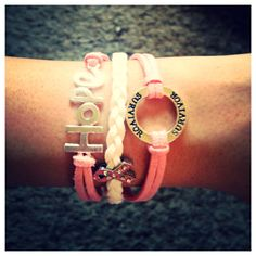 Hope, survivor and pink rhinestone ribbon charm bracelet in pink and white. Choose color and leave in comment box when checking out.  Coral