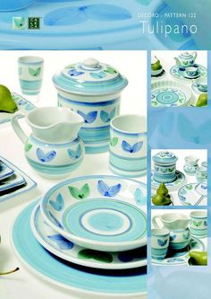 Caleca Blue Garland 16 Piece Dinnerware Set More Dishes