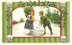 Vintage Christmas Postcard Gallery: Best Christmas Wishes Children with Snowball