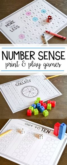 Number sense games for kindergarten and first grade! Students just print and play with these easy to use number sense activities!