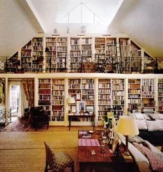 If only it had a spiral staircase going to the second level and it would be my dream room.