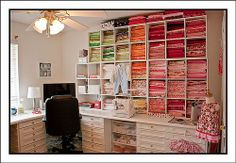 On my quest to organize and expand my sewing room, I have come across a few sewing rooms I thought I would share with you. I'm jealous and. Sewing Room Design, Sewing Room Storage, Sewing Spaces, Sewing Room Organization, My Sewing Room, Craft Room Storage, Fabric Storage, Sewing Studio, Sewing Rooms