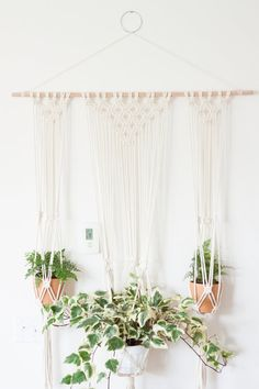 Bohemian Macrame Triple Plant Hanger Wall Hanging (DIY pattern and finished pieces available)