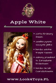 """Apple White - córka Królewny Śnieżki z bajki """"Królewna Śnieżka i siedmiu krasnoludków"""". Apple White mieszka i uczy się w Ever After High. #AppleWhite #EverAfterHigh #Look4ToysPL"""