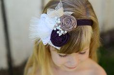 Niña de las flores de la venda, Taupe, Plum, y marfil, perla de los Granos, de encaje, plumas, personalizada