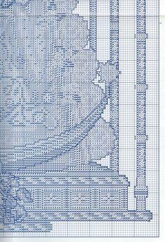 virgen del rocio punto de cruz | Aprender manualidades es facilisimo.com Blackwork, Skyscraper, Cross Stitch, Diy, Saints, Embroidery Designs, Unicorn Cards, Disney Cross Stitches, Manualidades