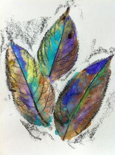 Watercolor Leaf Pressing, wax resist, by Laurel Check. Triple - the trodden path