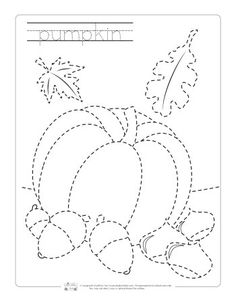 Thanksgiving Tracing Worksheets - Itsy Bitsy Fun Easy Halloween Crafts, Halloween Quilts, Fall Crafts, Tracing Worksheets, Preschool Worksheets, Preschool Activities, Drawing Lessons For Kids, Art Lessons, Fall Coloring Pages