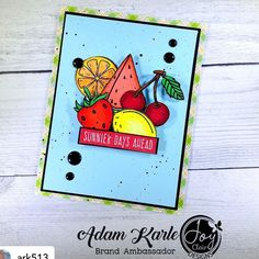"""Inspiration from Adam. He is using the life is Sweet stamp set. Posted @withregram • @ark513 """"Life is Sweet"""" Stamp Set by Joy Clair Designs inspired me to create a positive card expounding on the beauty of the summer season.  #snailmail #photooftheday #sharehandmadekindness #cards #cardsofinstagram #cardmaker #cardmakerofinstagram #diycards #cardideas #maker #makergonnamake #artsandcrafts #papercrafting #dudescraftoo #artist #artistofinstagram #handmadecards  #homemadecards #stamping #stamps… Arts And Crafts, Paper Crafts, Card Maker, Diy Cards, Homemade Cards, Sunny Days, Stamping, Joy, Seasons"""