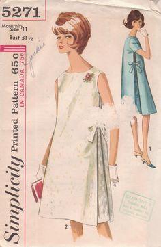 Vintage 1963 Maternity One Piece Dress Size 11 Simplicity 5271 UNCUT Sewing Pattern 60s 1960s. $8.00, via Etsy.