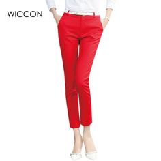 2017 Autumn new fashion high waist pencil pants for women office OL style work wear skinny pants female vintage trousers WICCON