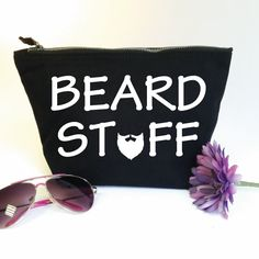 Beard Stuff Accessory Zip Bag. Funny Toiletry Bag. Gift For Him. Dad Gift. Moustache. Beard Bag. Grooming Kit Bag. Beard Stuff Bag. Man Bag. by SoPinkUK on Etsy
