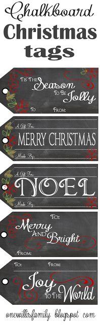 The Willis Family: Chalkboard Christmas Gift Tags #chalkboard #christmas #gift tags