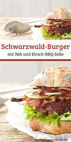 Für jeden Burger-Liebhaber ein muss: Ein Rezept für Schwarzwald-Burger vom Grill mit Reh, Schwarzwälder Schinken und selbstgemachter Kirsch-Barbecue-Soße. Bbq Beef Sandwiches, Wrap Sandwiches, Hot Dog Recipes, Burger Recipes, Wild Burger, Cooking On The Grill, Bon Appetit, Grilling, Food And Drink