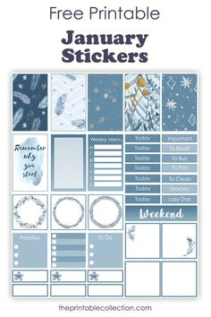 Free January planner stickers to customize, decorate your favorite planner. Stickers in blue and white. They fit the Classic Happy Planner. Printable Planner Stickers, Journal Stickers, Free Printables, Planner Template, Free Planner, Happy Planner, Planner Ideas, Bujo, Tricks