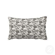 KRW Vintage Black Toille Print Decor Pillow