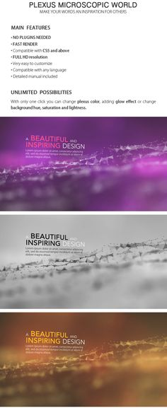 Plexus Microscopic World is a title sequence with connected lines, dots and polygons. A little and abstract universe with múltiple color possibilities. This template is an After Effects CS5 and above compatible, do not required any plugin.   Keywords: bussines, colors, connected, corporate, dots, energy, investigation, medical, microscope, modern, net, particle, plexus, universe, web