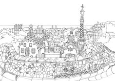 "abidaker: "" Line drawing of Park Güell in Barcelona, showing some of Gaudi's distinctive architecture. Antonio Gaudi, Mandala Printable, Parc Guell, Art Nouveau, Black And White Sketches, Barcelona Travel, Urban Sketchers, Picture Collection, Design Thinking"