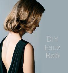 DIY Faux Bob Wedding Hairstyle for Long Hair