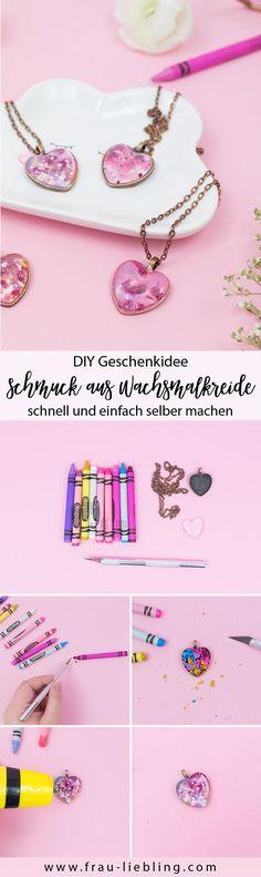Frau Liebling - DIY Blog über Deko, Geschenke, Lettering - Geschenkidee: DIY Schmuck und Kette aus Wachsmalkreide selber machen